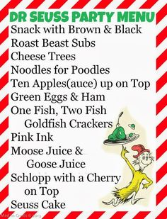 Seuss Party Food Mad in Crafts dr seuss themed food names Dr Seuss Party Ideas, Dr Seuss Birthday Party, First Birthday Parties, 2nd Birthday, Birthday Ideas, Dr Suess Baby, Dr Seuss Baby Shower, Grinch Party, Dr. Seuss