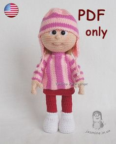 PLEASE NOTE: THIS IS A PATTERN ONLY and NOT THE FINISHED TOY!!!  Please PAY ATTENTION This is a CROCHET AND KNITTING pattern by Yanina Kamyshan.  MATERIALS AND TOOLS you will need: - skin color yarn for the head and arms (I used less than 50 g); - red color yarn for the legs and the skirt (I used less than 50 g); - white color yarn for the boots (I used less than 50 g); - some pink and lilac yarn for the sweater and hat; - some yarn or felting wool for hair; - pink embroidery thread for the…