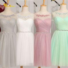 Vestido de dama de honor JB36 recién llegado baratos 2016 tul corto Junior Vestidos de dama de honor Vestidos de novia menos de $50