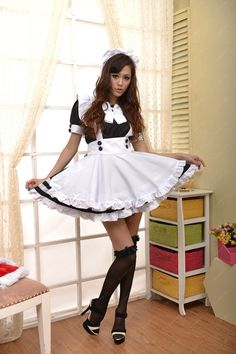 Thigh High Outfits, French Maid Uniform, French Maid Costume, Maid Cosplay, Maid Outfit, Kawaii Clothes, Cosplay Costumes, Female Models, Short Dresses