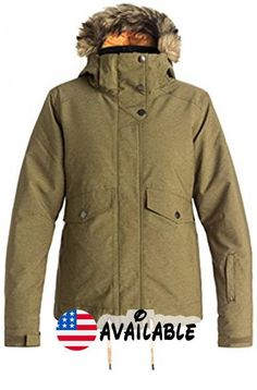 B01M0431FA : Roxy SNOW Junior's Grove Regular Fit Snow Jacket Military Olive XL. Snow jacket. Warm flight insulation #Apparel #OUTERWEAR