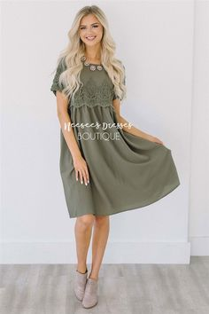 Olive Lace Insert Dress   Modest Bridesmaids Dresses   Buy Modest Dress and Skirt for Church Online