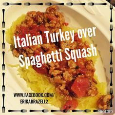 spaghetti squash winter squash italian turkey ground turkey 21 day fix fix extreme 21 Day Fix, Healthy Ground Turkey, Ground Turkey Recipes, Good Healthy Recipes, New Recipes, Healthy Foods, Favorite Recipes, Ground Turkey Spaghetti, Clean Eating