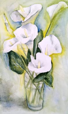 Arums, Drawings, Painting, Wine Cellars, Fotografia, Easy Watercolor, Watercolor Painting, Watercolour Paintings, Artist