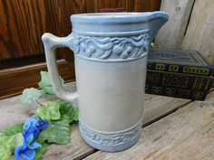 Beautiful Antique Light Blue Salt Glazed Pottery Pitcher - Raised Cherry Leaf and Cherries Design by allthatsvintage56 on Etsy