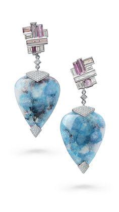 FRACTAL FROST EARRINGS by VOTIVE •  Paraiba, Pink Tourmaline, White Diamonds, 18k White Gold