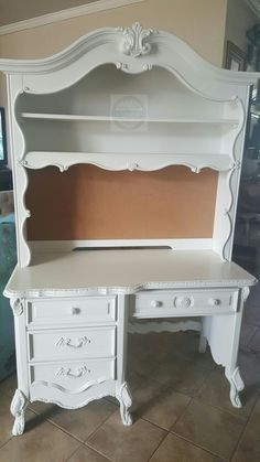 French Country Desk With Hutch Snow White By General Finishes Facebook
