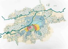 THE GROWTH OF CALI—CITY BOUNDARIES: 1780, 1880, 1921, 1930, 1937, 1951 (PL. 204), 2012 MICROPIGMENT INK, GEL INK, AND OIL MARKER ON PAPER 38 ½ × 53 ¼ IN. (98 × 135 CM)