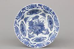 Blauw en witte Wan-Li 'klapmuts' kom in Chinees porselein, Ming-dynastie, 16e eeuw
