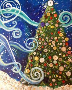 Mixed Media Christmas Tree | Adult Art Classes | Kids Art Classes in Greenville, SC