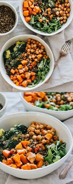 Vegan Chickpea & Sweet Potato Bowls! Vegetarian, gluten free, dairy free, and easy to make! Recipe is on Jar Of Lemons.