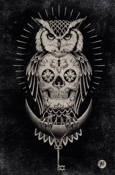 This as a tattoo would be a banger! #Owl #Skull #Key #Lock #Tattoo #Inked