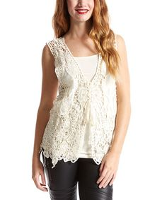 Look at this #zulilyfind! Caramel Crochet Linen-Blend Vest by Pretty Angel #zulilyfinds