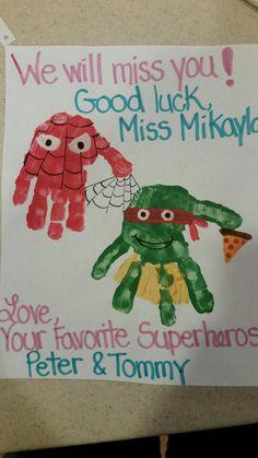Ninja Turtle and Spiderman Handprint Art