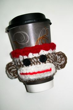 Sock Monkey Coffee Cup Cozy Drink Sleeve Crochet by littledarlynns, I need it!