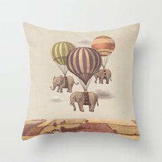 Flight of the Elephants  Throw Pillow by Terry Fan - $20.00