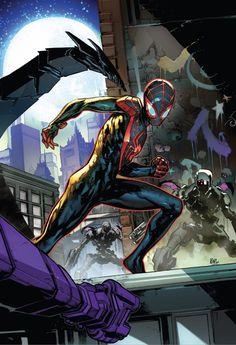 Miles Morales: Spider-Man cover art by Ken Lashley. Comic Book Covers, Comic Books Art, Book Art, Comic Movies, Marvel Comics, Marvel Art, Cosmic Comics, Stan Lee, Manado