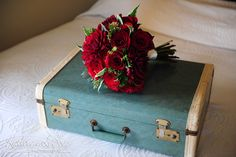 The Bride's Aunt had this perfect vintage suitcase that I used for the bride's bouquet (which the bride's cousin designed.   McMenamins Edgefield Wedding Photography, Bride's flower bouquet photography, Kathryn LeBoye Photography