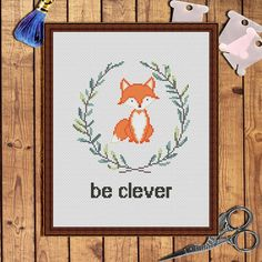 Be clever fox cross stitch fox-cross stitch pattern von AnnaXStitch