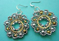 Beaded Silver Earrings with Gold Wire Wrapped
