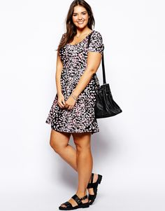 Image 4 of ASOS CURVE Exclusive Skater Dress With Animal Print