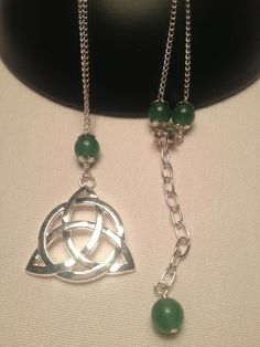 Cetlic Trinity Knot, Triquetra Aventurine Necklace. Starting at $5 on Tophatter.com!