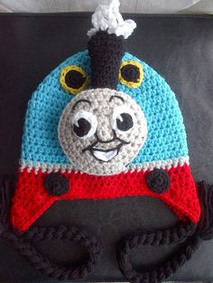 Wish I found this 5 years ago! Crochet Choo Choo Trian Hat Inspired by the character Thomas the Train. $36.00, via Etsy.