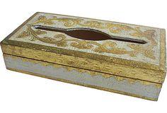 """Florentine  Tissue Box on Italian Chest in front of Red Velvet Sofa - 11""""L x 5.75""""W 2""""H"""