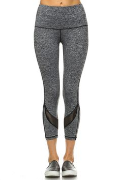 51410f932fca3 Pink Buddha Black Grey Printed Mesh Performance Yoga Running Capri  Activewear Leggings large grey 1582 *** More info could be found at the  image url.