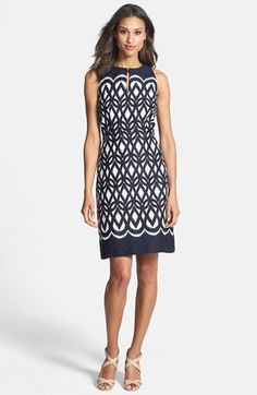 Flattering50: Top 10 Dress Styles for Women Over 50 This is a classic cut dress and if you'll look closely at the natural waist the pattern becomes more concentrated which defines your waist and helps balance your proportions.  Can be paired with blazer, cardigan, jean jacket,