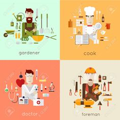 41714644-Set-of-different-people-professions-characters-with-tools-icons-Gardener-cook-doctor-foreman-Set-of--Stock-Vector.jpg (1300×1300)