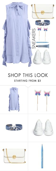 """White sneakers"" by simona-altobelli ❤ liked on Polyvore featuring Robert Clergerie, Tory Burch and Too Faced Cosmetics"