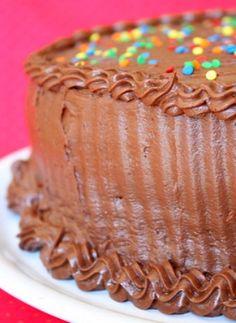 Hersheys Perfectly Chocolate Chocolate Cake #recipe from RecipeGirl.com