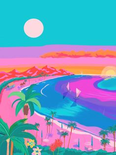 Yoko Honda's work is so bright and colourful, we just wish beaches actually looked like this! #illustration #creativity #art