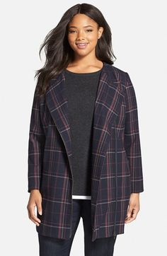 Free shipping and returns on Sejour Plaid Zip Front Topper (Plus Size) at Nordstrom.com. A two-way front zip, placed off-center, brings a dash of moto flavor to a straight-cut collarless topper patterned in a pretty navy plaid.