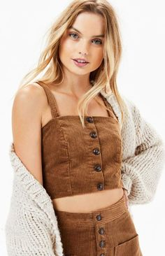 Embrace fall in the ultra-chic Alicia Crop Top by Lost + Wander. Made from a soft corduroy fabric, this top boasts wide fixed straps, square neckline, button-down front, and a cropped fit. Corduroy Shorts, Pants Outfit, Pacsun, Long Hair Styles, Crop Tops, Female, Chic, How To Wear, Boiled Egg
