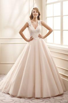 eddy k bridal 2016 cap sleeves v neck lace bodice ball gown wedding dress (ek1076) mv champagne color romantic