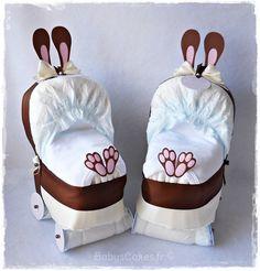 Idée cadeau pour baby shower - Mini landau de couches lapin choco