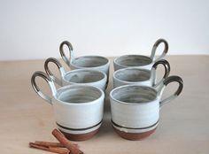 Handmade Dessert Cups Set of 6 Rustic Modern Pottery