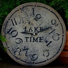 9 Inch  LAKE TIME CLOCK in Tan Gray and by ClocksByHomestead, $22.00