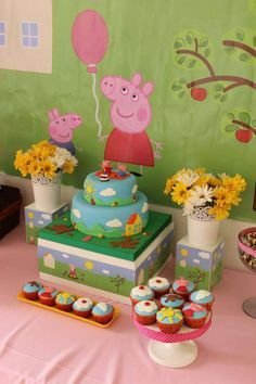 Peppa Pig birthday party cake and cupcakes! See more party ideas at CatchMyParty.com!