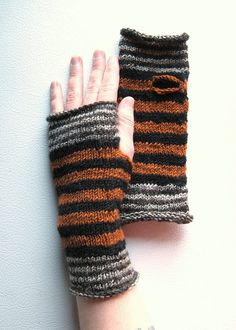 Red Fox Striped Wrist Warmers by extase on Etsy, $30.00