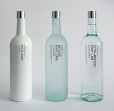 OTOKOYAMA Sake Collection / Glass Bottles / Packaging / Ideas / Inspiration / Typography Only / Minimalist / Minimal / Design / White / Blue / Bottle / Drink / Japan Cool Packaging, Beverage Packaging, Bottle Packaging, Brand Packaging, Design Packaging, Japanese Packaging, Coffee Packaging, Product Packaging, Packaging Ideas