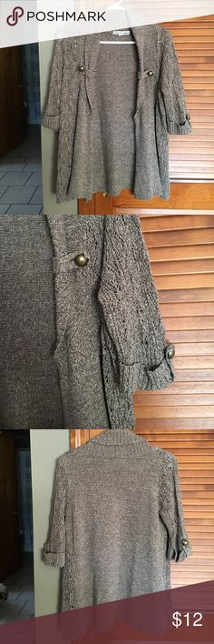 Love By Design Sweater Brown Cardigan with buttons on the arms Love By Design Sweaters Cardigans