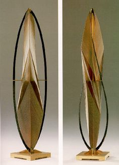 """Russian-born American sculptor Naum Gabo (1890-1977) was a pioneer of the Russian Constructivist art movement. His work utilized what is known as """"stereometric construction,"""" by which form is achieved through the description of space rather than mass. In explaining the method he once stated, """"We take four planes and we construct with them the same volume as four tons of mass."""""""