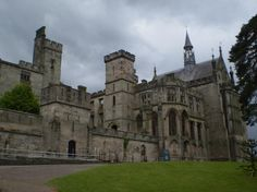 Alton Towers, near Cheadle, Staffordshire. Built by the 15th Earl of Shrewsbury in about 1814-27, and altered and added to by his successor in 1835-36 to designs by A.W. Pugin. The spectacular house is now partially ruined and stands in the middle of a theme park.