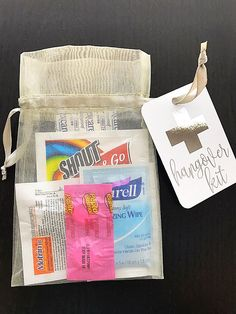 Hangover Kit Tag Gold Foil Survival Kit Welcome Bags www.poetictwist.com