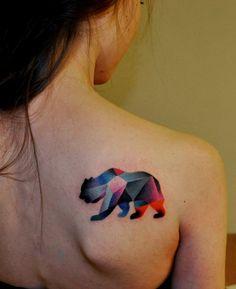 #bear #tattoo #triangles.