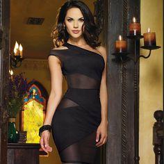 One Shoulder Off  Black Party  Dress Thong Set Evening Elegant,New Fashion 2014,Sexy Mesh vestido de festa ,Free Shipping2179
