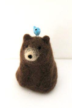 Felted Wool Bear with Bird - Merino Sculpted Animal - Needlefelted Fibre Art - Montgomery. £15.00, via Etsy.